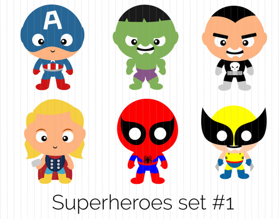 570x448 Superhero Clipart Captain America Hulk Punisher Thor