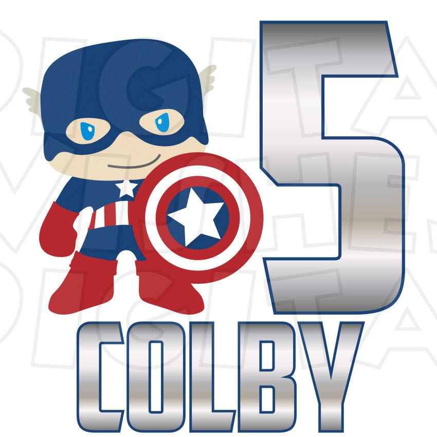 850x850 Captain America Birthday Custom Name And Any Age Digital Clip Art