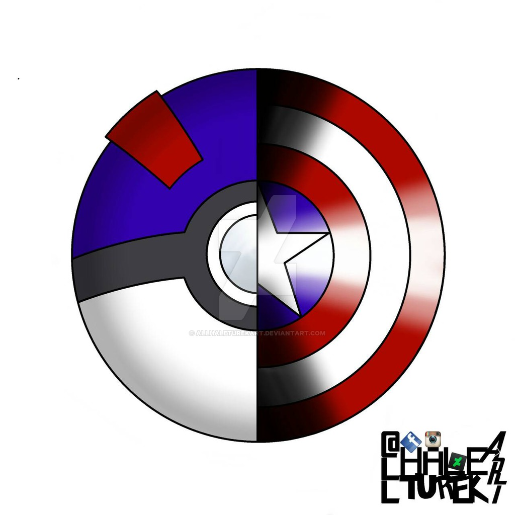 1024x1024 Great Ball Captain America Shield Fusion Logo By Allhaleturekart