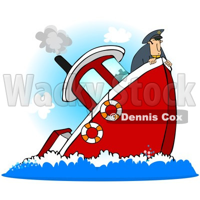 400x400 Royalty Free (Rf) Clipart Illustration Of A Captain On A Sinking