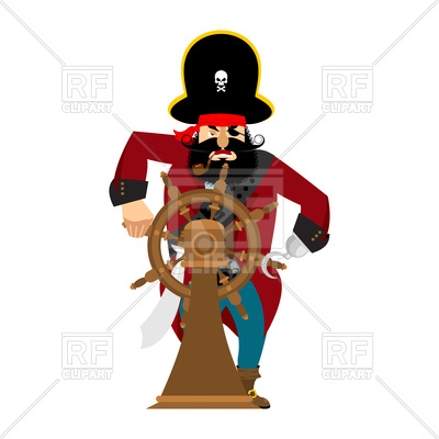400x400 Captain Of Pirate In Wheel Isolated Royalty Free Vector Clip Art