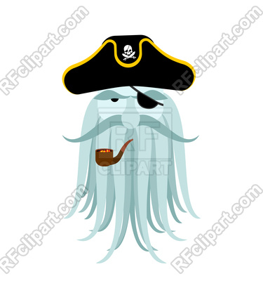 375x400 Captain Pirates Ghost. Mythical Buccaneer Boss With Tentacles