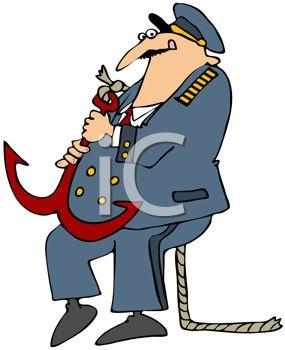 285x350 Cartoon Of A Ship's Captain Holding An Anchor