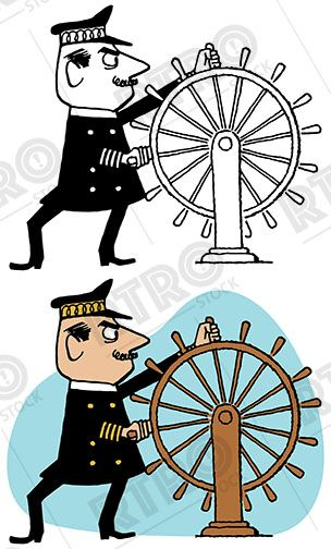 304x504 A Sea Captain Steers His Ship With A Big Round Wooden Wheel
