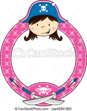 372x470 Girl Pirate Captain. Cute Cartoon Pirate Captain With Swords