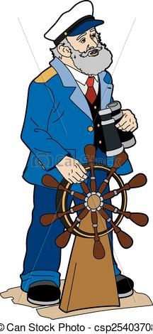 216x470 Ship's Captain. Vector Illustration Of A Sailor, Eps 8 File.