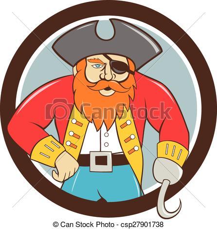 446x470 Captain Hook Pirate Circle Cartoon. Illustration Of A Pirate
