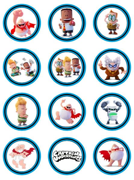 445x597 Captain Underpants Movie Party Favor Tags Goodie Bags Cupcake