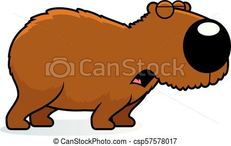 450x286 Cartoon Capybara Howling. A Cartoon Illustration Of A Vector