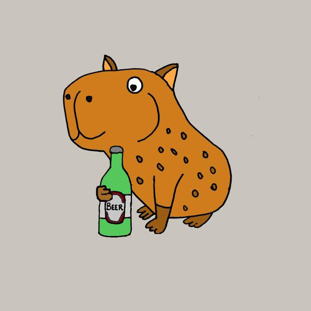 630x630 Funny Capybara Drinking Beer Cartoon
