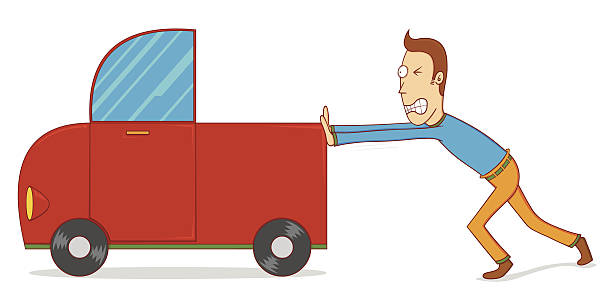 612x306 Collection Of Man Pushing Car Clipart High Quality, Free