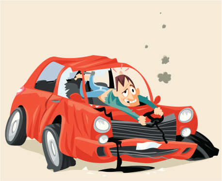 458x374 Red Car Crashed Clipart