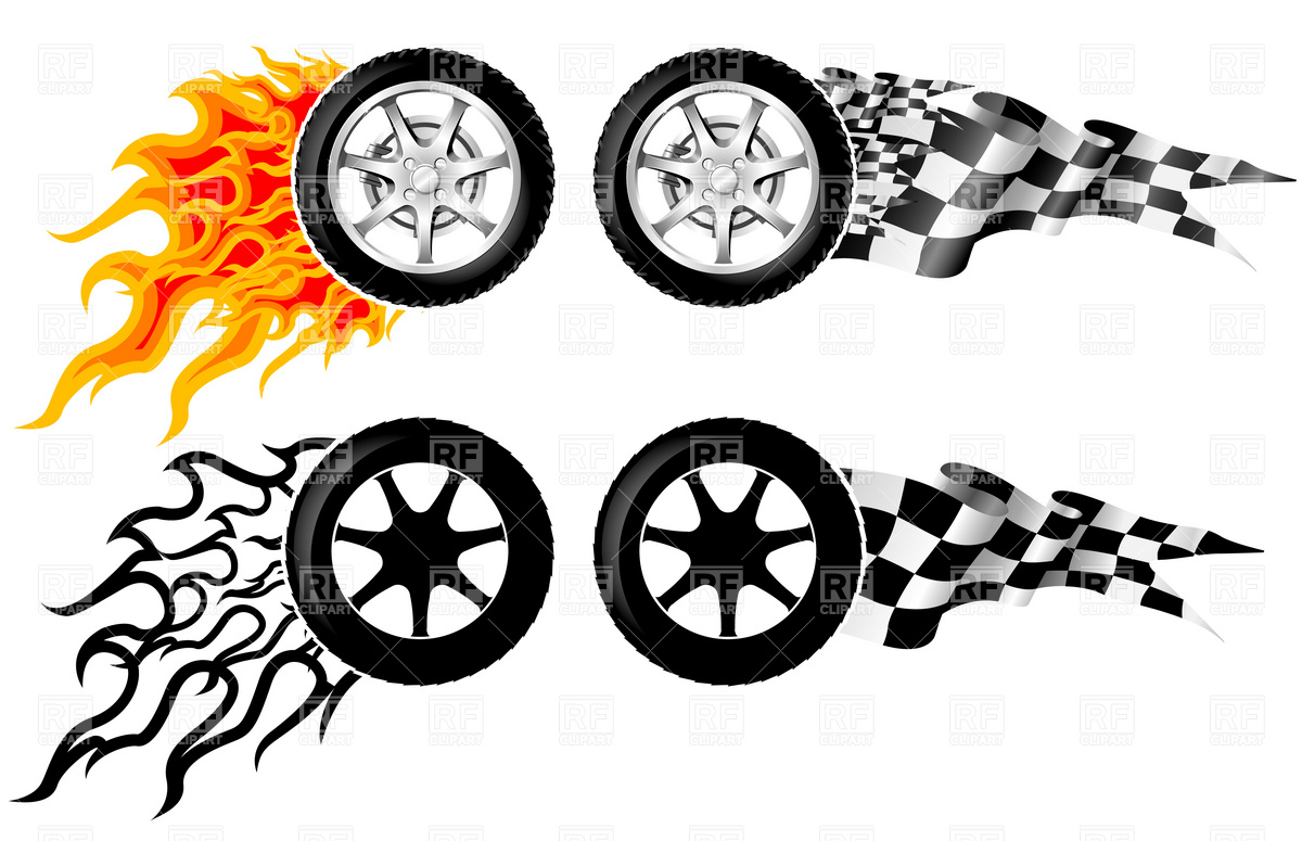 1200x775 Car Racing Emblem Wheel In Fire Vector Image Vector Artwork