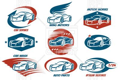 400x267 Car Shop And Service Or Automobile Workshop Emblem Set Royalty