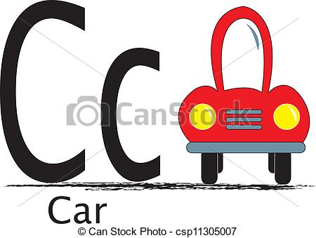 450x339 C Is For Car The Uppercase And Lowercase Letter With Clip Art Word