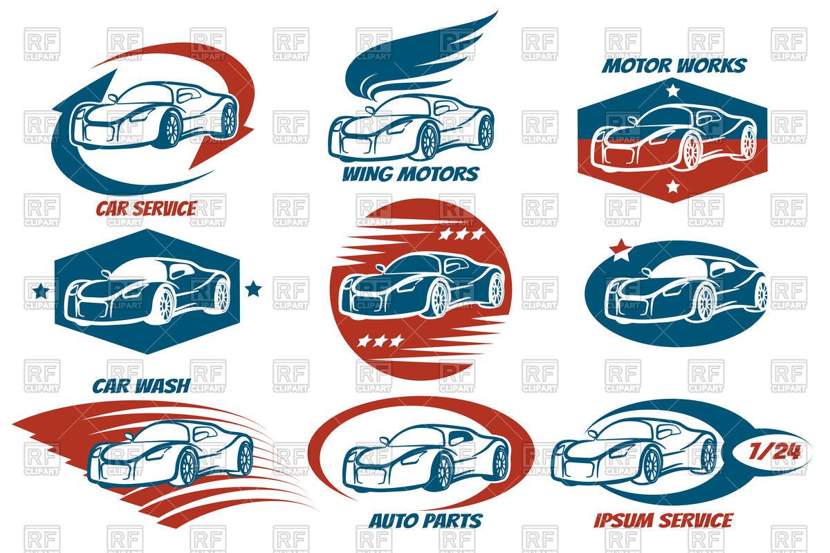 1200x800 Car Shop And Service Or Automobile Workshop Emblem Set Royalty