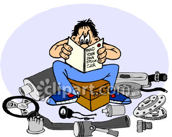350x280 Clipart Picture Of A Man Trying To Build His Own Stock Race Car