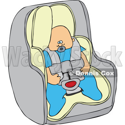400x400 Cartoon Of A Caucasian Baby Boy In A Car Seat