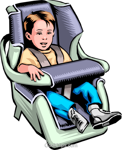 389x480 Child In A Car Seat Royalty Free Vector Clip Art Illustration