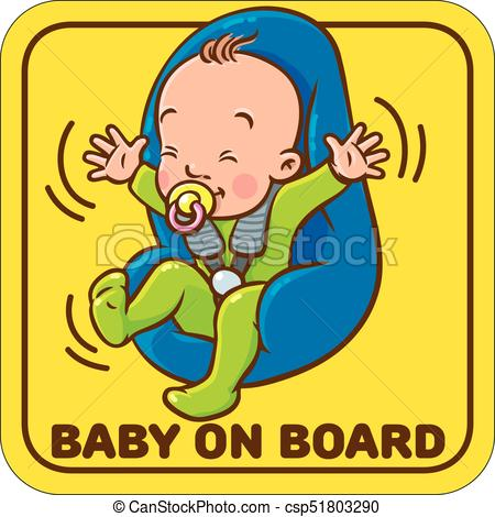 450x470 Funny Small Baby With Dummy In The Car Seat. Baby On Board . Eps