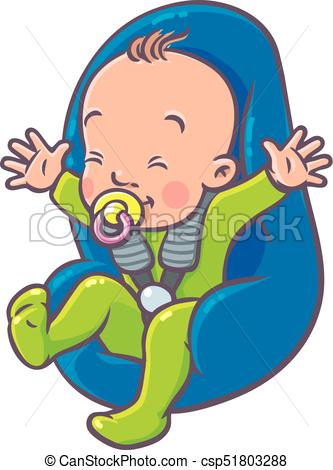 333x470 Funny Small Baby With Dummy In The Car Seat. Funny Small Vector