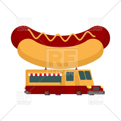 400x400 Hot Dog Car Food Truck. Fast Food Car. Royalty Free Vector Clip