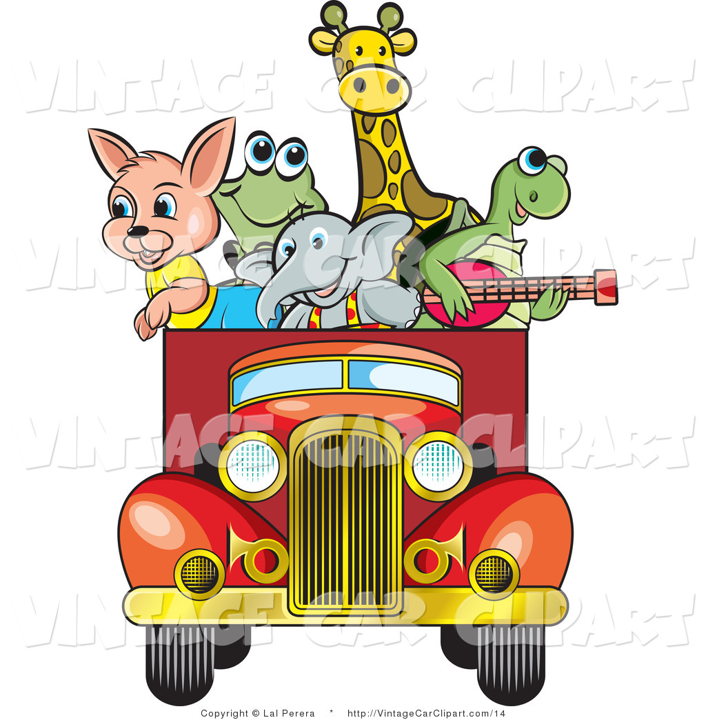 1024x1044 Vector Clipart Of Happy Animals In A Vintage Truck By Lal Perera