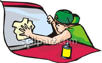 350x215 Young Man Washing His Car Window