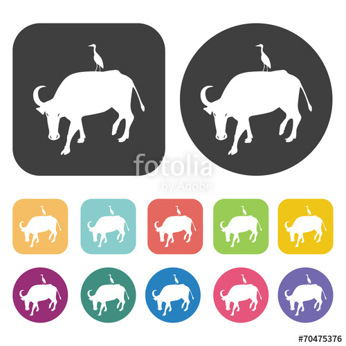 500x500 Carabao With Crane Icon. Farming Icon Set. Round And Rectangle C
