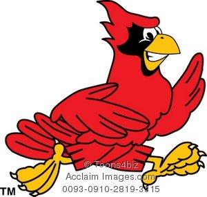 300x285 Clipart Cartoon Cardinal Running