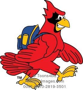 276x300 Clipart Cartoon Cardinal Wearing A Backpack