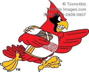 300x243 Clipart Cartoon Cardinal Playing Football