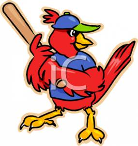 285x300 Royalty Free Clipart Image A Cardinal Playing Baseball