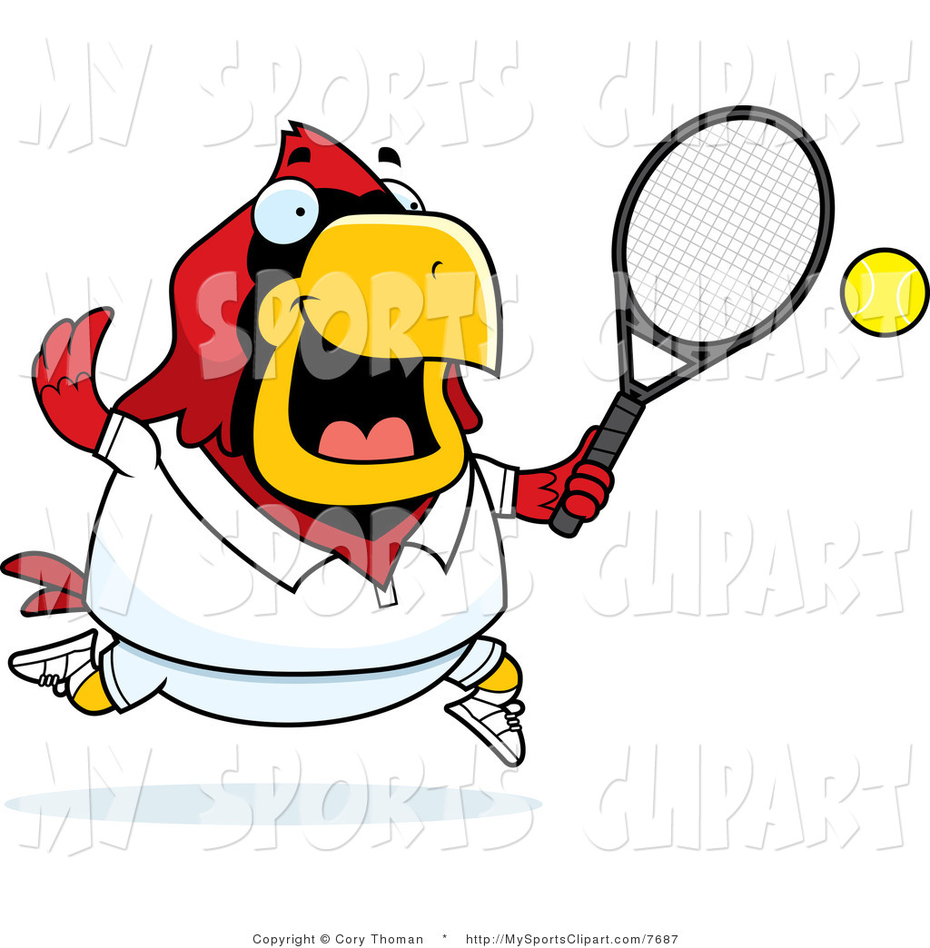 1024x1044 Sports Clip Art Of A Cardinal Playing Tennis By Cory Thoman