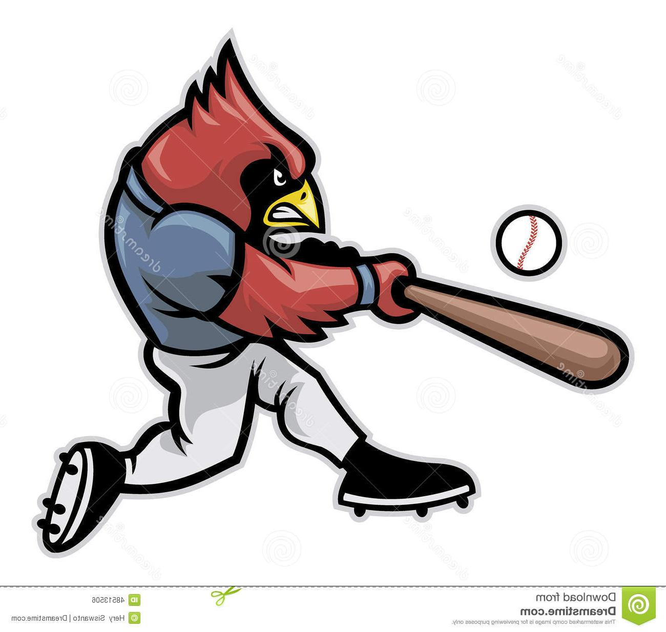 1300x1233 Unique Cardinal Baseball Vector Player Mascot Hitting Ball Cdr