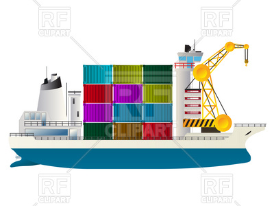 400x300 Container Ship, Freighter Royalty Free Vector Clip Art Image