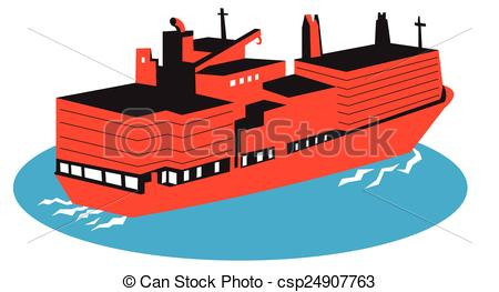450x263 Container Ship Rear Aerial. Vector Illustration Of A Container