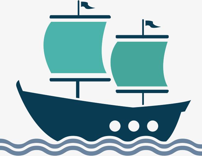 650x501 Flat Sailboat Vector, Vector Cargo Ship, Ocean Shipping, Transport