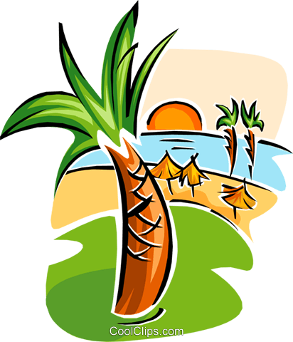 412x480 Caribbean Vacation Royalty Free Vector Clip Art Illustration