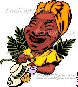 270x300 Cartoon Caribbean Lady Vector Clip Art