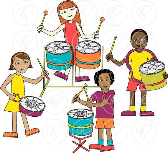 570x518 Steelpan Band Clip Art Pack 300 Dpi Digital Images Children