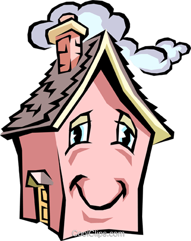 379x480 House With Caricature Face Royalty Free Vector Clip Art