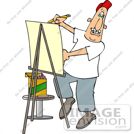 450x450 Caricature Artist Using An Easel And Crayons Clipart