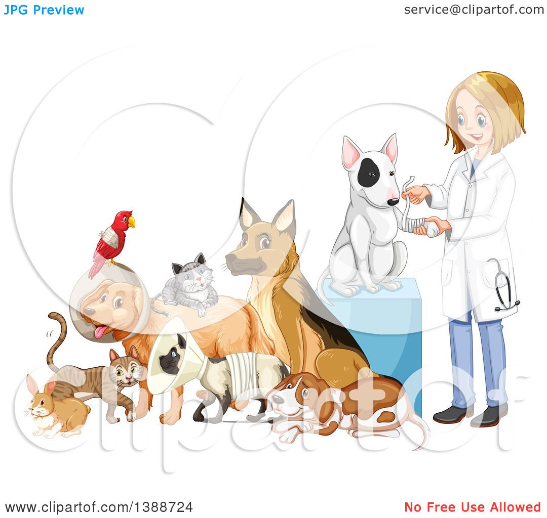 1080x1024 Clipart Of A Caring Dirty Blond White Female Veterinarian Tending