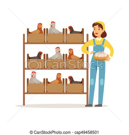 450x470 Farmer Woman Caring For Chickens, Poultry Breeding Vector