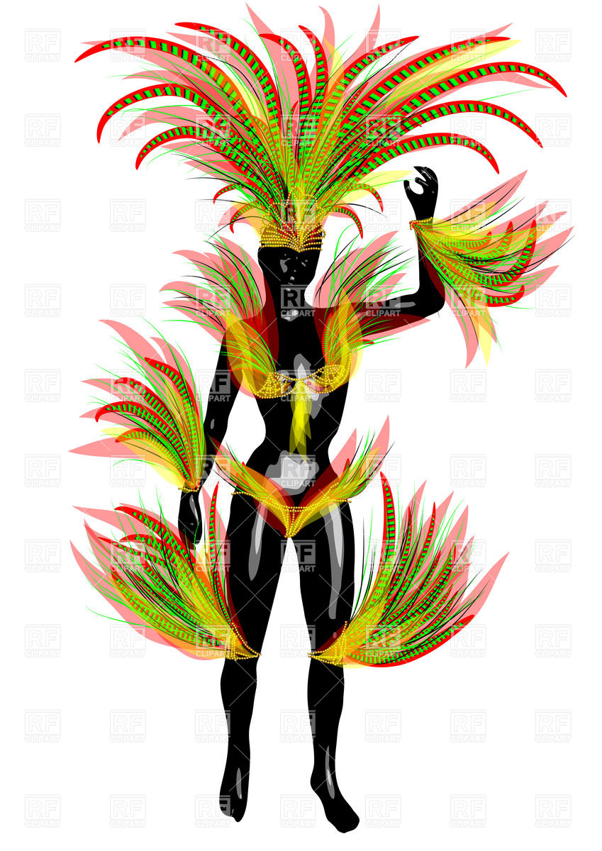849x1200 Black Woman In Carnival Costume Royalty Free Vector Clip Art Image