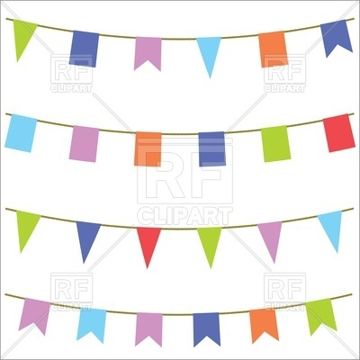 400x400 Carnival flags on white background Royalty Free Vector Clip Art