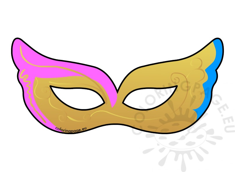 808x591 Venetian Carnival Mask Clipart Coloring Page