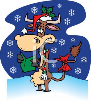 312x350 Christmas Carolers Clip Art Cartoon Clipart Picture Of A Cow