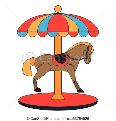 450x470 Carousel Horse Icon On A White Background, Vector Vector